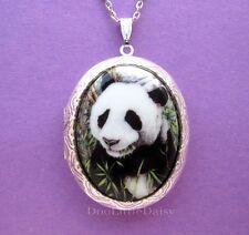 Porcelain PANDA BEAR CAMEO Silvertone Costume Jewelry Locket Pendant Necklace