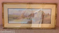 Coniston Lake and Old Man Pintura, Roland Stead, Enmarcado, 47x100 cm. con marco