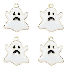 12pcs White Enamel Plated Halloween Ghost Pendant Charms Jewelry DIY Findings