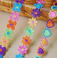 2 Yard Colorful Flower Heart-shape Embroidered lace Trim Ribbon Appliques Sewing