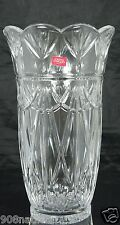 FRENCH CRYSTAL FLOWER VASE SCALLOPED RIMS,SWAG & PINEAPPLE PATTERN