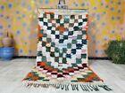 "Berber Handmade Rug 3'6"" x 6'9 Bohemian Checkered MultiColored Moroccan Area Rug"