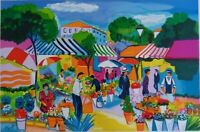 Picot Jean-Claude: The Market Provencal - Lithography Original Signed 600ex