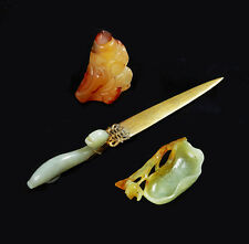 ANTIQUE CHINESE JADE BELT HOOK GEMSTONE CARVED DRAGON CHINA LETTER OPENER 19TH C