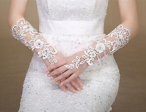 Hochzeit und Edle fingerlose Handschuhe Zirkonia Spitzen Brauthandschuhe Spice