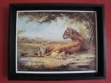"""superbe reproduction de silvia duran, la lionne et ses lionceau """" BORN AT KORA """""""