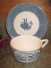 Currier & Ives Royal China USA Cup & Saucer Steamboat / Horse & Carriage Vintage