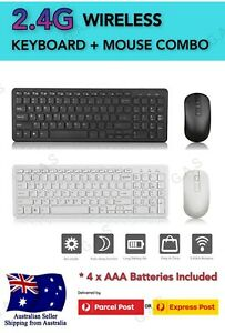 Slim Cordless Wireless Keyboard And Optical Mouse Combo for PC Laptop Win7/8/10