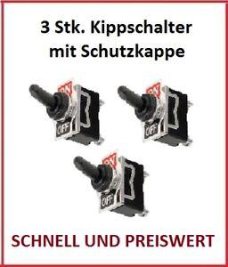 Kippschalter 12 V 24 V 230 V 220 V Volt 10 A Amper Schalter Kappe Wasserdicht 3x