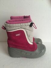 Girls size 4 pink suede Totes warm winter snow boots removable liner