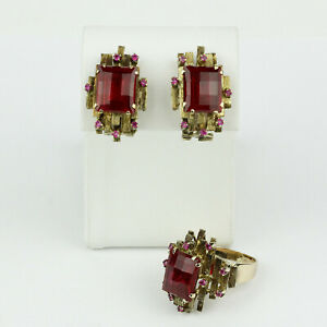 Vintage 3D 10k Yellow Gold and Synthetic Ruby Ring with Matching Earrings Set