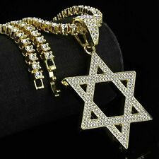 "14K Gold Plated Star of David Pendant 5mm 20"" Tennis Necklace Chain HipHop"