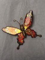 1950s Butterfly Brooch Enamel Orange Red Glitter Vintage Pin Jewellery