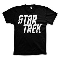 Official Star Trek Written Logo Printed Retro T Shirt - Black and White Funky
