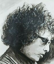 Bob dylan Singer Songwriter Hand Painted Original Oil ink Painting by L.J