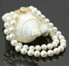 """Fashion 2rows 7-8mm natural white akoya cultured pearl bracelet 7.5"""""""