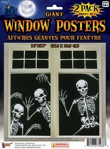 2 x SKELETON WINDOW POSTERS HORROR Halloween Party Decoration Accessory