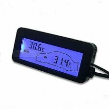LCD Innen/Außen-Thermometer für Auto 12V/24V Blau NEU