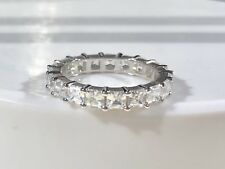 Eternity Band Asscher Cut Diamond Simulants Solid Sterling Silver 925
