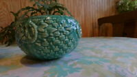 McCoy Pottery Turquoise Basketweave Ivy Rings Planter Flower Pot