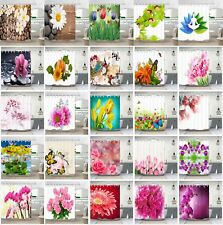 Flower Design Bathroom Waterproof Fabric Shower Curtain & Hooks Multiple Style