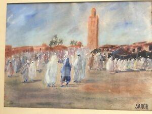 Sonca CARIFFA (1897-1989) Place Jemaa El Fna Marrakech Aquarelle orientaliste