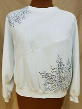 Snowflake Polar Fleece Sweatshirt Sweater Womens Sz Petite L White Alfred Dunner