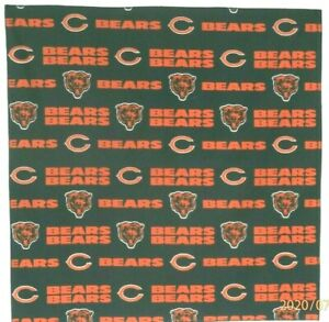 "Bandanna for Chicago Bears on Navy Blue 100% Cotton #139 Handmade 22"" X 22"""
