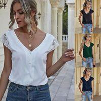 Women V-Neck Lace Short Sleeve Solid Backless Blouse Casual T-Shirt Loose Tops