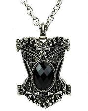 Victorian Black Stone Corset Necklace Gothic Locket Pendant Vampire Punk Grunge