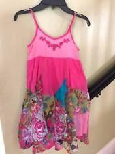 MIMI & MAGGIE girls pink printed handkerchief hem dress Sz 7/8 Small