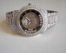 Mens big hip hop CZ bling clubbing  Silver finish bracelet floating stone watch