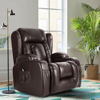 Oversize Leather Massage Recliner Chair Heated Rocking Vibrated 360°Swivel Brown