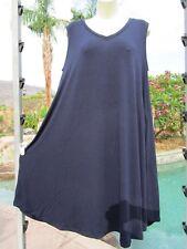 NEW Zenana Premium dress sundress V-neck stretch L navy sleeveless pockets