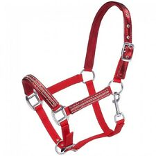 Tough-1 Adjustable Nylon Miniature Halter with Foil/Crystal Overlay - Red - Nwt