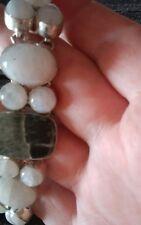 """Real Moon Stones 7-8"""" Nwot Big Silver 925 Gemstone Bracelet"""