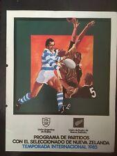 3640-Buenos Aires V Nueva Zelanda 1985 Rugby programa noviembre 2nd All Blacks