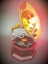 Gramophone Wood Octagonal Vintage Present Mechanical Music Mahogany Party Gag1
