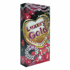 10Pcs Fuji Latex Straight G Luxury Gold Super Thin Condom Pack Made in Japan AA
