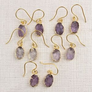 Natural Purple Amethyst Oval Shape Gold Plated Drop Dangle Handmade Gift Earring