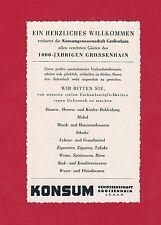 Ü269 WERBUNG AUS EINER ZEITSCHRIFT DDR GROßENHAIN 1954 KONSUM GENOSSENSCHAFT