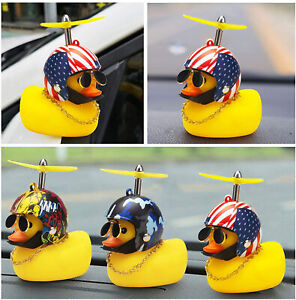 Rubber Duck Toy Car Ornaments Yellow Dashboard Decorations with Propeller Helmet
