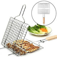 HOT IRON WIRE BARBECUE GRILLING BASKET BBQ NET WOODEN HANDLE MEAT CLIP HOLDER