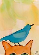 "ACEO original blue BIRD on cat head painting by Lynne Kohler 2.5x3.5"""
