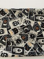 Halloween-Tossed Tarot Cards-Cats-Skulls-Spiders-Fabric 100% Cotton-By The Yard