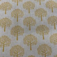 Mulberry Ochre yellow Linen Trees  Curtain/Craft/upholstery Fabric 140cm wide
