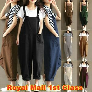 Womens Cotton Linen Dungarees Jumpsuit Casual Loose Overalls Playsuits Plus Size