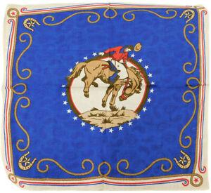 "Horse Riding Cowboy Rope Border Horseshoes Blue 22""x22"" 100% Cotton Bandanna"