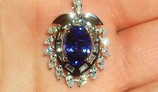 D Block AAAA Tanzanite & Full Cut Baguette & Marquise Diamonds 18K Gold Pendant