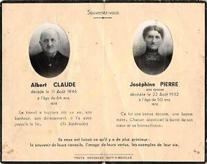 Généalogie Avis de décès ALBERT CLAUDE 11 08 1946 & JOSéPHINE PIERRE 22 08 1932